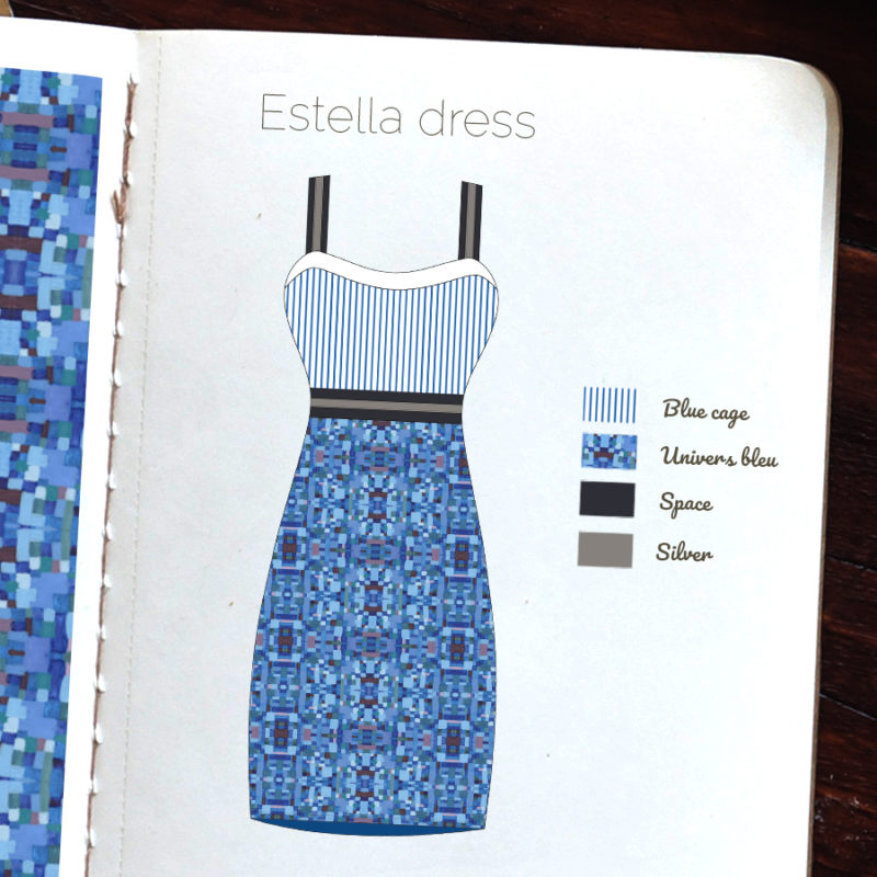 Motif textile Univers bleu par Fábio de Sá - Robe Estella