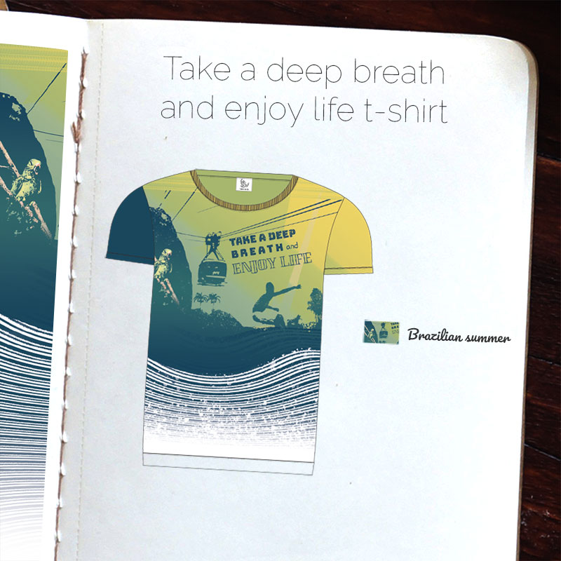 Motif textile Brazilian summer par Fábio de Sá - T-shirt Take a deep breath and enjoy life