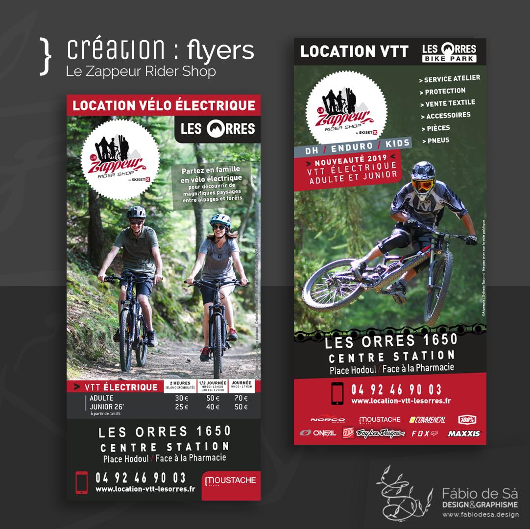 Création de flyers pour le magasin Le Zappeur Skiset Les Orres